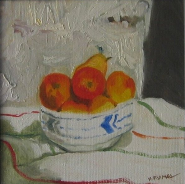 Fruit in Blue and White Bowl
